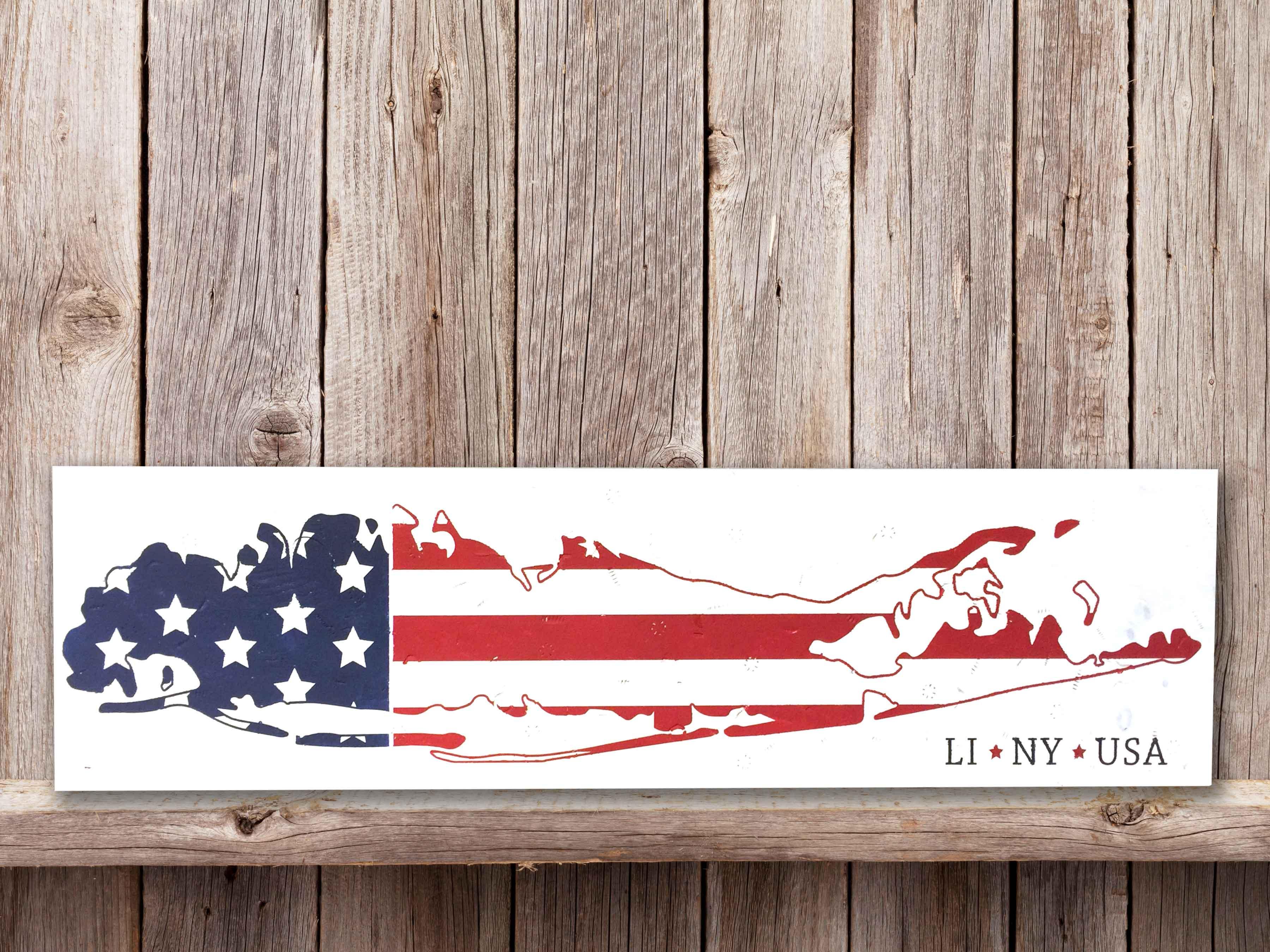 LI Map American Flag, 9×36