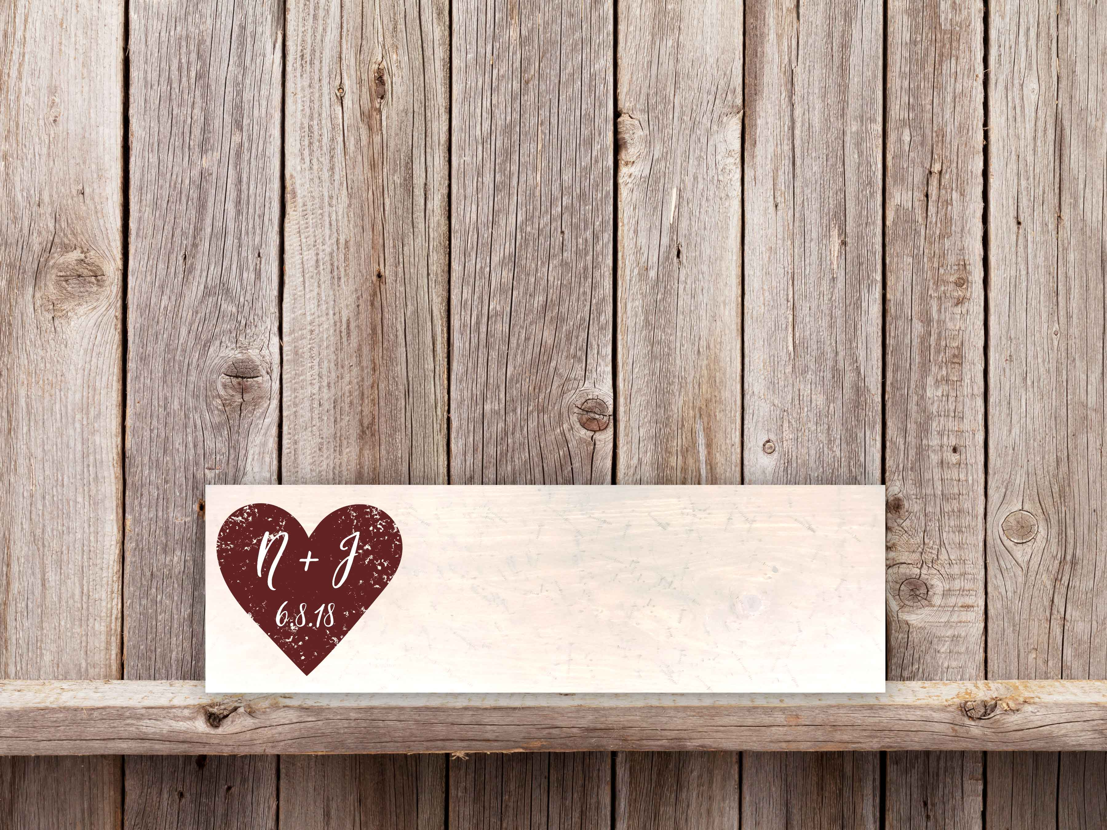 Heart Initials 9×36