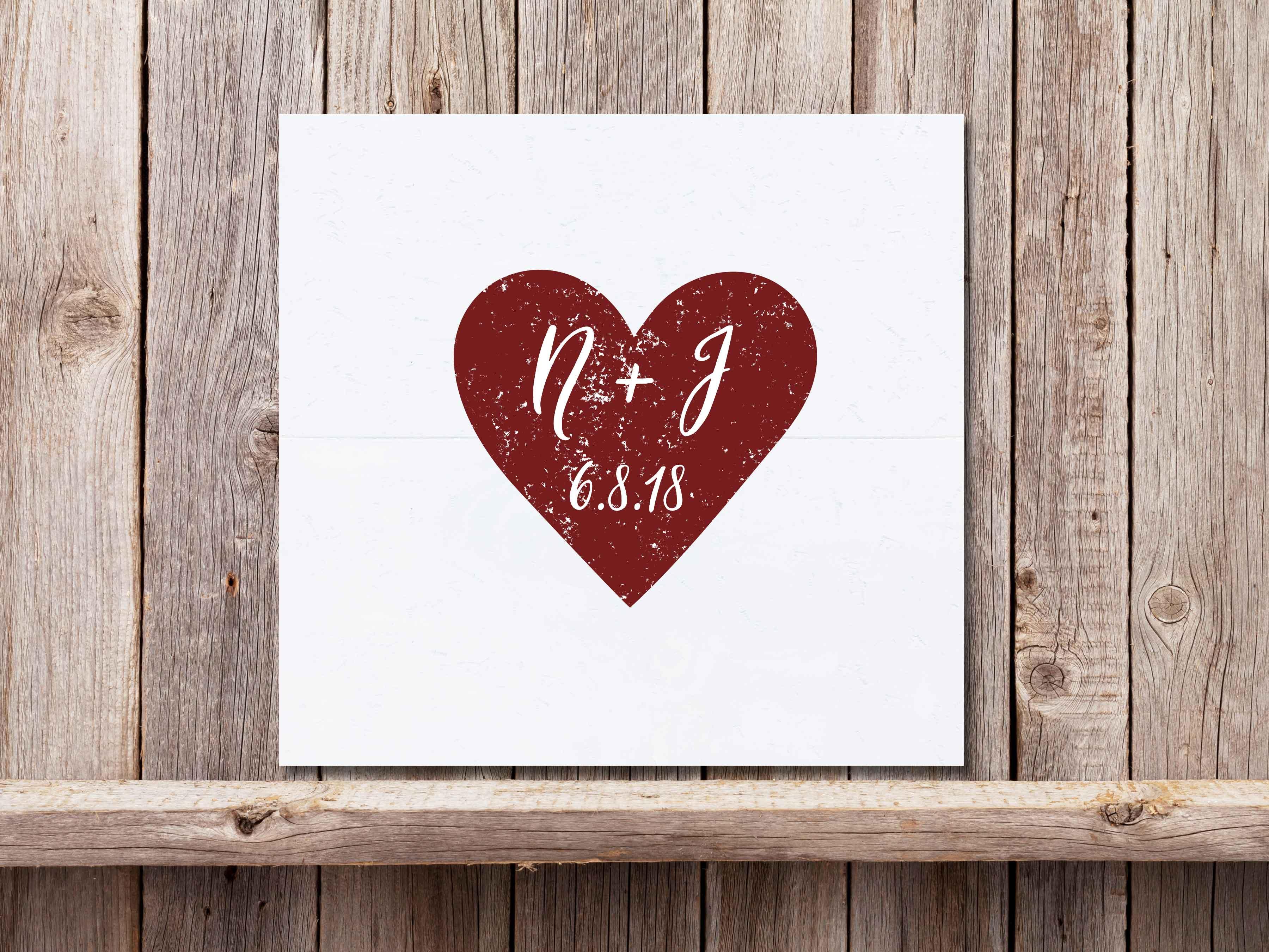 Heart Intitials 22×24